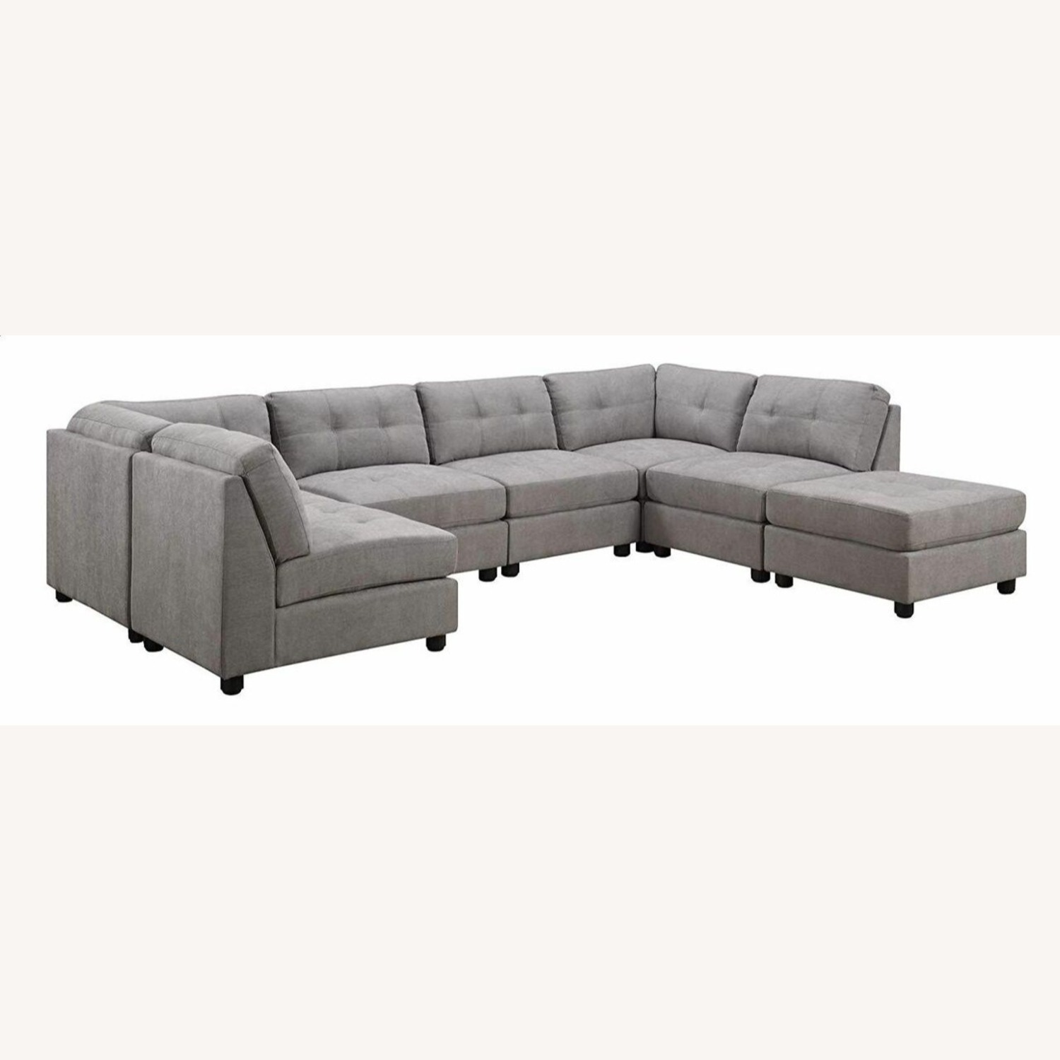 7-Piece Sectional In Dove Chenille Fabric - image-0