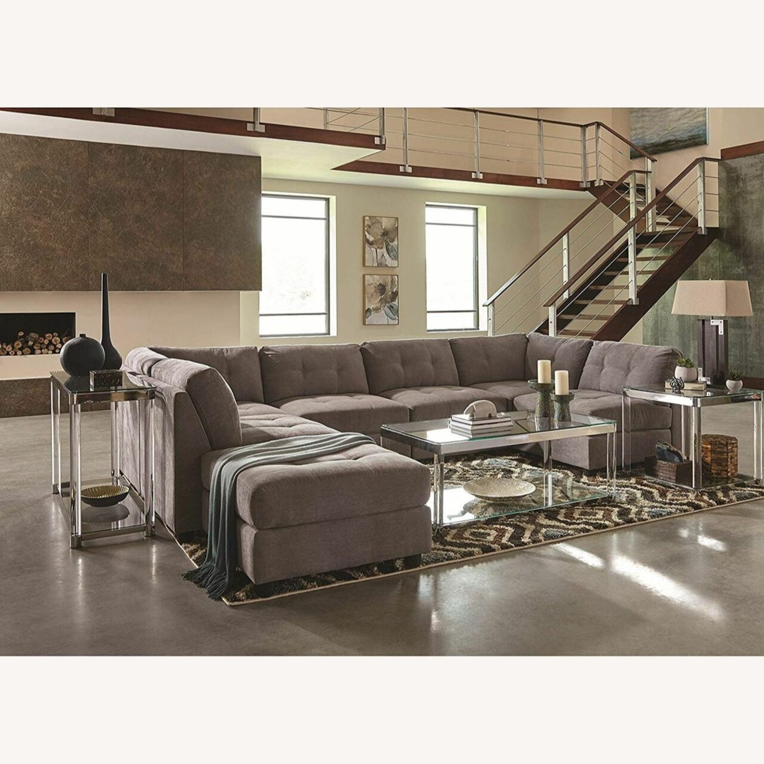 7-Piece Sectional In Dove Chenille Fabric - image-6