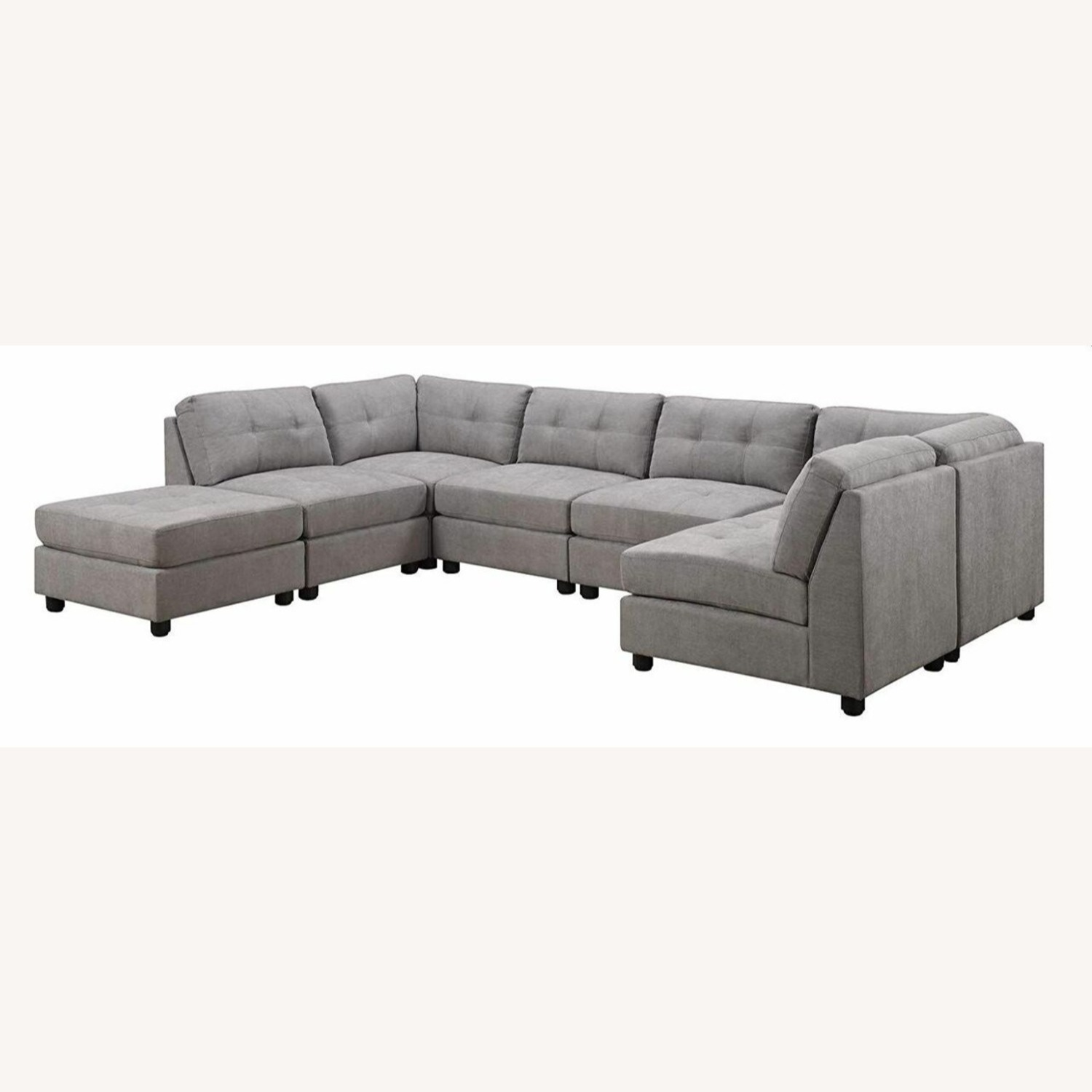 7-Piece Sectional In Dove Chenille Fabric - image-1