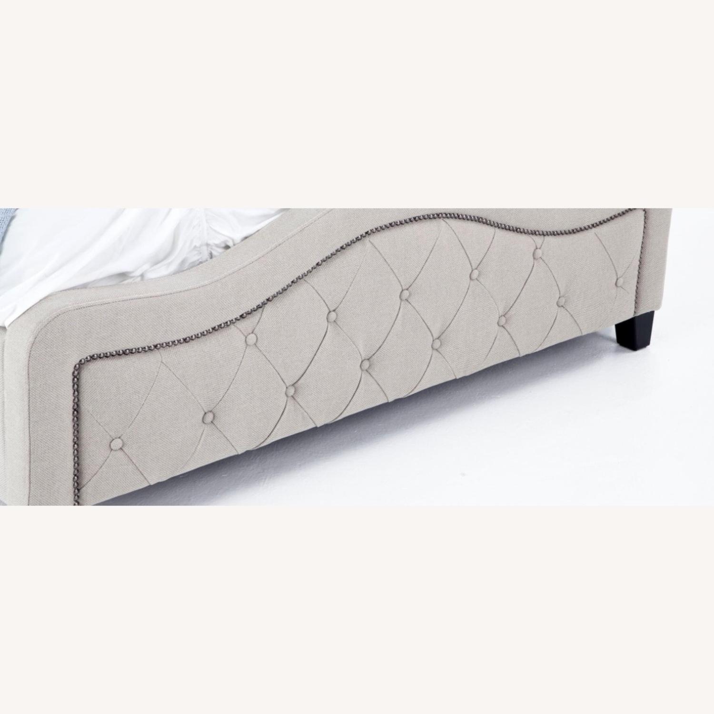 Bob's Upholstered Beige Studded Queen Bed Frame - image-2