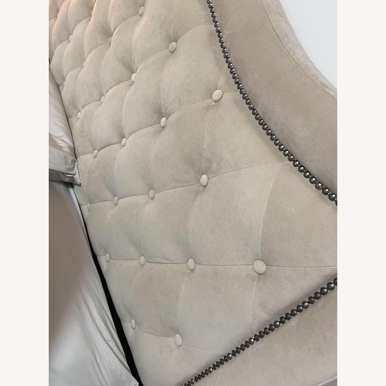 Bob's Upholstered Beige Studded Queen Bed Frame - image-4