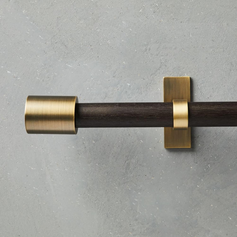 West Elm Mid Century Curtain Rod- Wood/Brass - image-3
