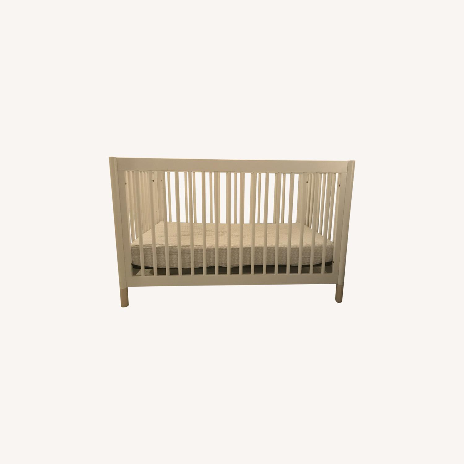 Babyletto White Crib and Toddler Bed - image-0