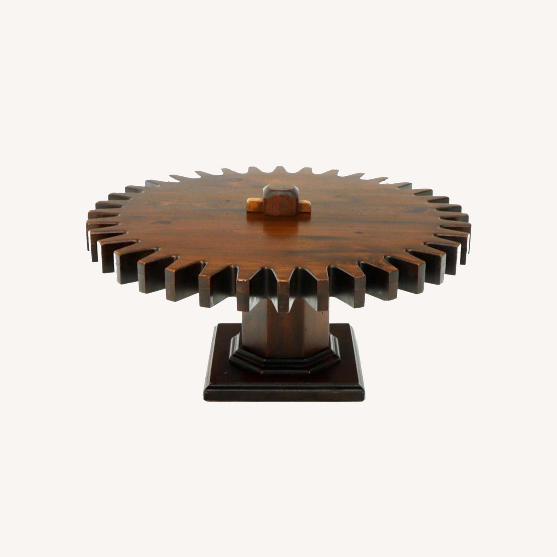 Ethan Allen Antique Round Cog Sprock Gear Coffee Table - image-0