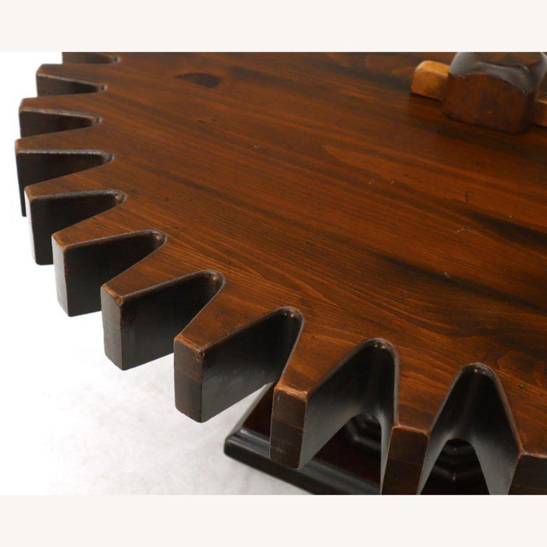 Ethan Allen Antique Round Cog Sprock Gear Coffee Table - image-9