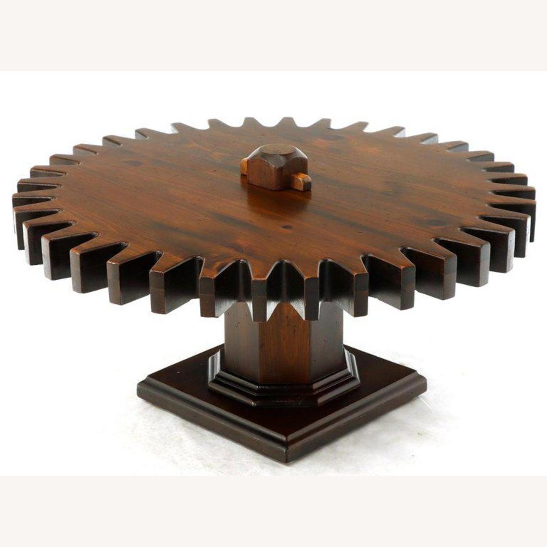 Ethan Allen Antique Round Cog Sprock Gear Coffee Table - image-11