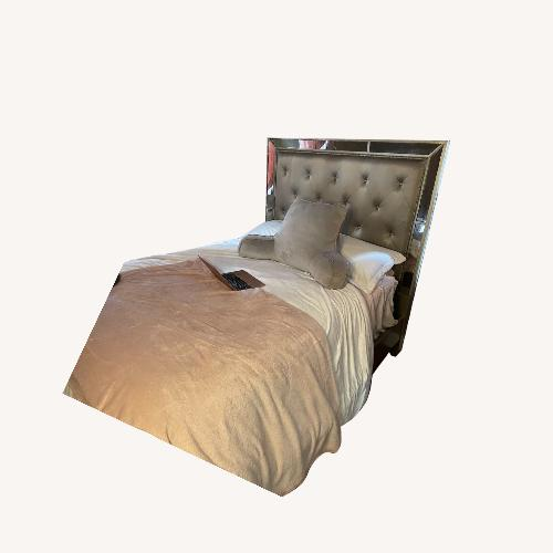 Used Best Home Ava Glam Mirrored Synthetic Silk Upholstered Bed for sale on AptDeco