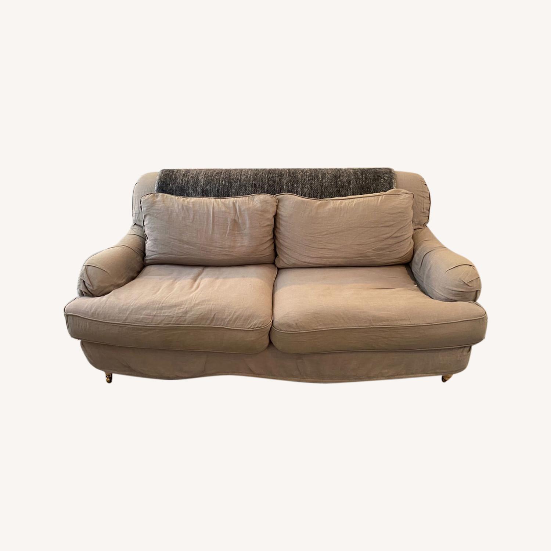 Shabby Chic Rachel Ashwell Gray Linen Sofa - image-0