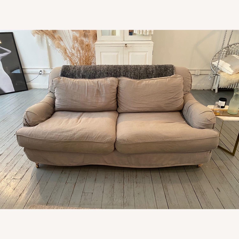 Shabby Chic Rachel Ashwell Gray Linen Sofa - image-2