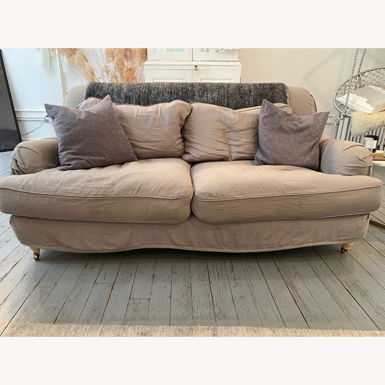 Shabby Chic Rachel Ashwell Gray Linen Sofa - image-1