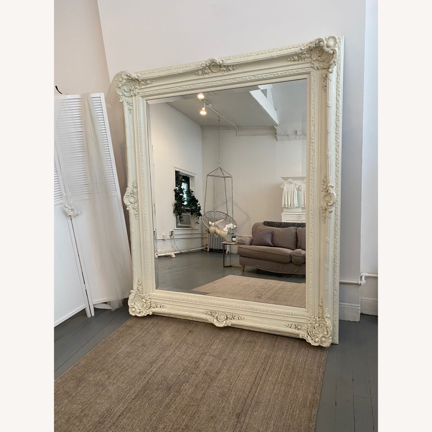 Shabby Chic Carved Ornate French White Mirror - image-1