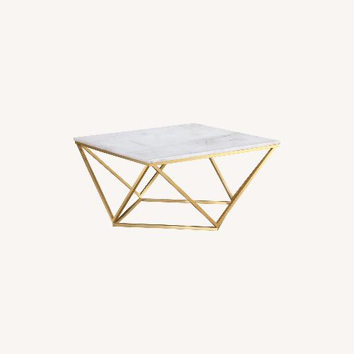 Used TOV Furniture Leopold White Marble Cocktail Table for sale on AptDeco