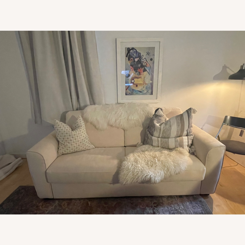 Cream Performance Leather Italian Sleeper Sofa - image-1