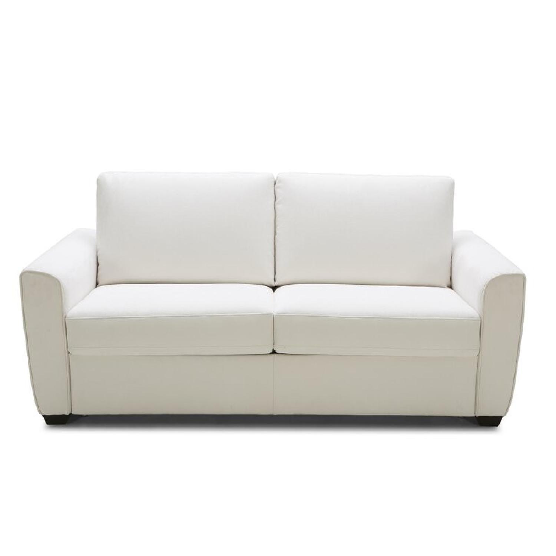 Cream Performance Leather Italian Sleeper Sofa - image-10