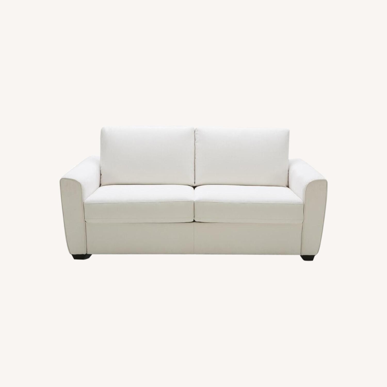 Cream Performance Leather Italian Sleeper Sofa - image-0