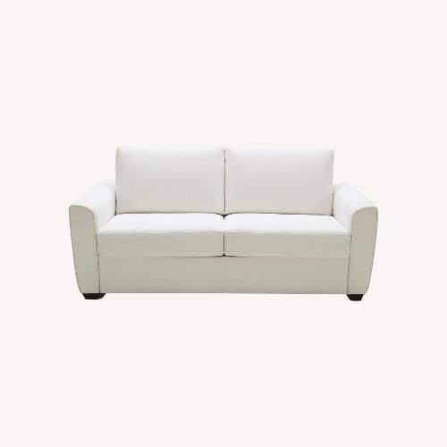 Used Cream Performance Leather Italian Sleeper Sofa for sale on AptDeco