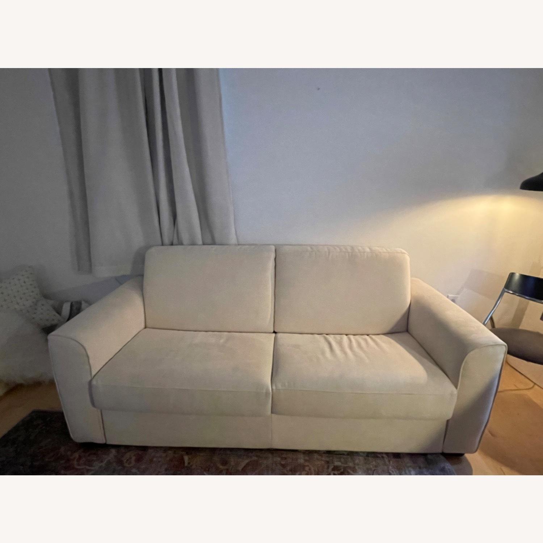 Cream Performance Leather Italian Sleeper Sofa - image-6