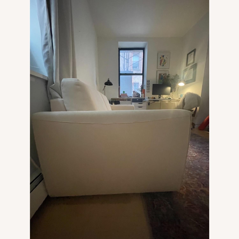 Cream Performance Leather Italian Sleeper Sofa - image-3