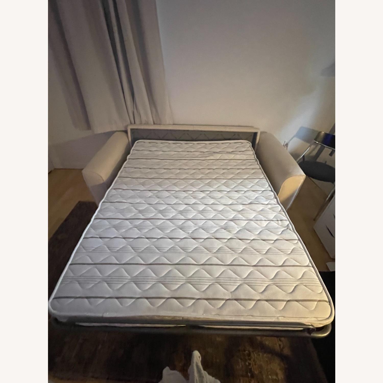 Cream Performance Leather Italian Sleeper Sofa - image-7