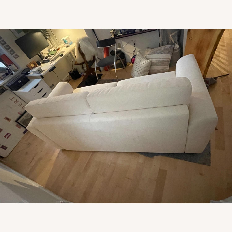 Cream Performance Leather Italian Sleeper Sofa - image-5