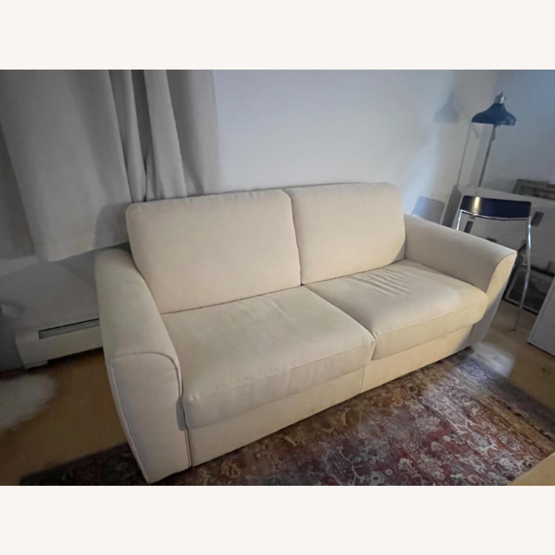 Cream Performance Leather Italian Sleeper Sofa - image-2