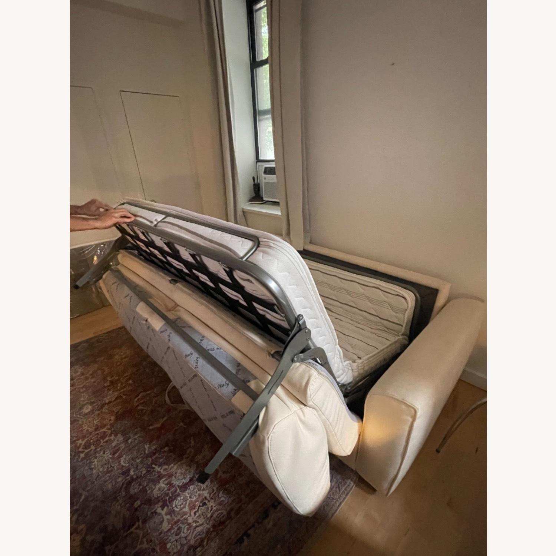 Cream Performance Leather Italian Sleeper Sofa - image-8