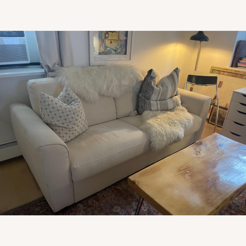 Cream Performance Leather Italian Sleeper Sofa - image-9