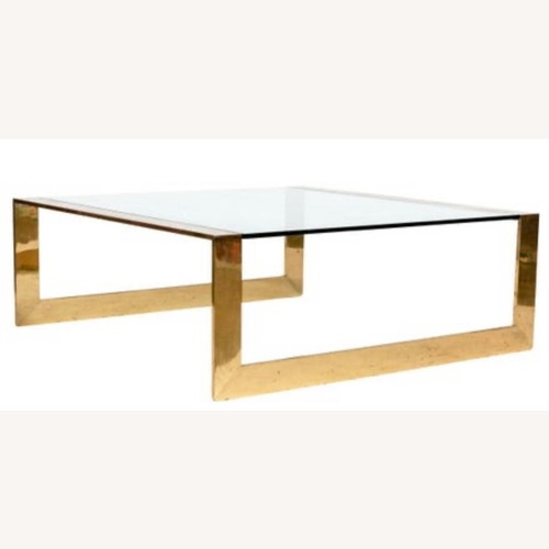 Used Solid Brass & Glass Coffee Table for sale on AptDeco