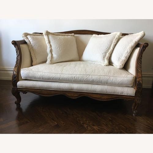 "Used Harden Furniture 57"" Loveseat, White/Wood for sale on AptDeco"