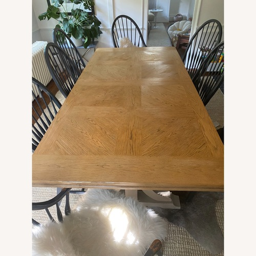 Used Trestle Dining Table And Farm Chairs for sale on AptDeco