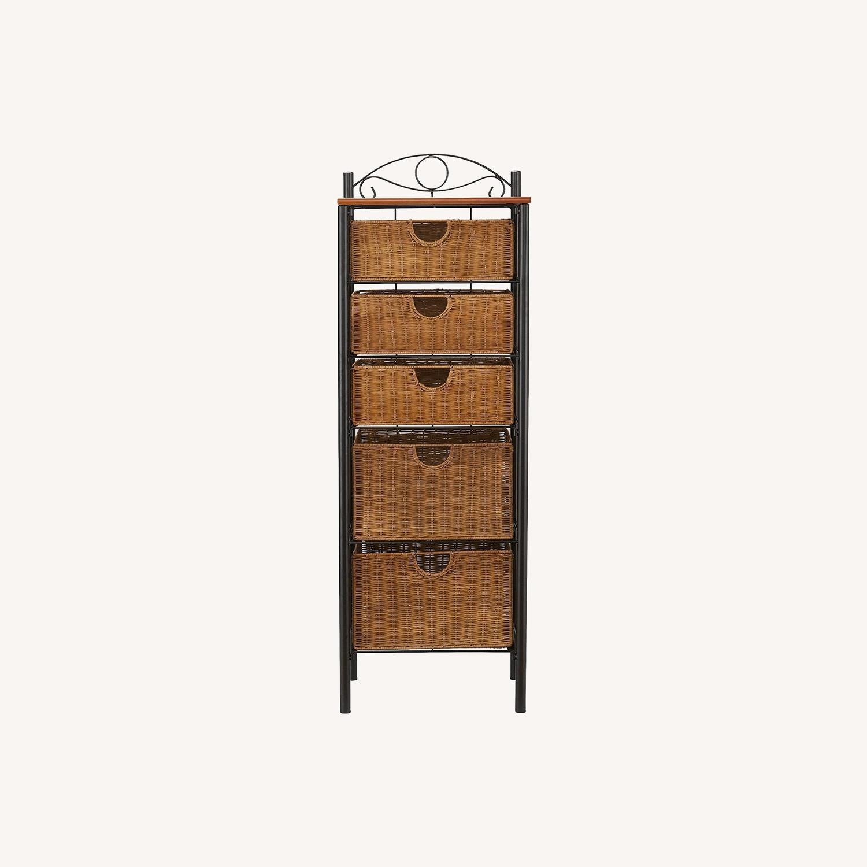 SEI Wrought Iron and Wicker 5 Drawer Storage Unit - image-0