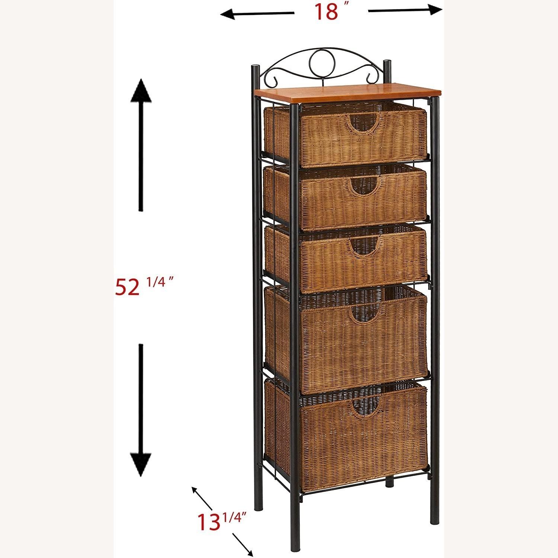 SEI Wrought Iron and Wicker 5 Drawer Storage Unit - image-1