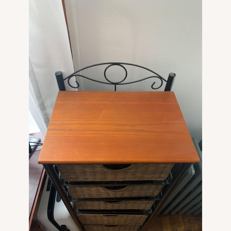 SEI Wrought Iron and Wicker 5 Drawer Storage Unit - image-3