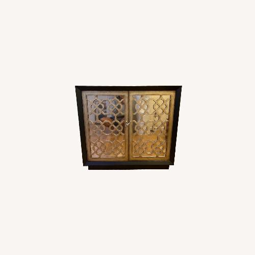 Used Horchow Black and Gold 2 Door Storage Console/Chest for sale on AptDeco