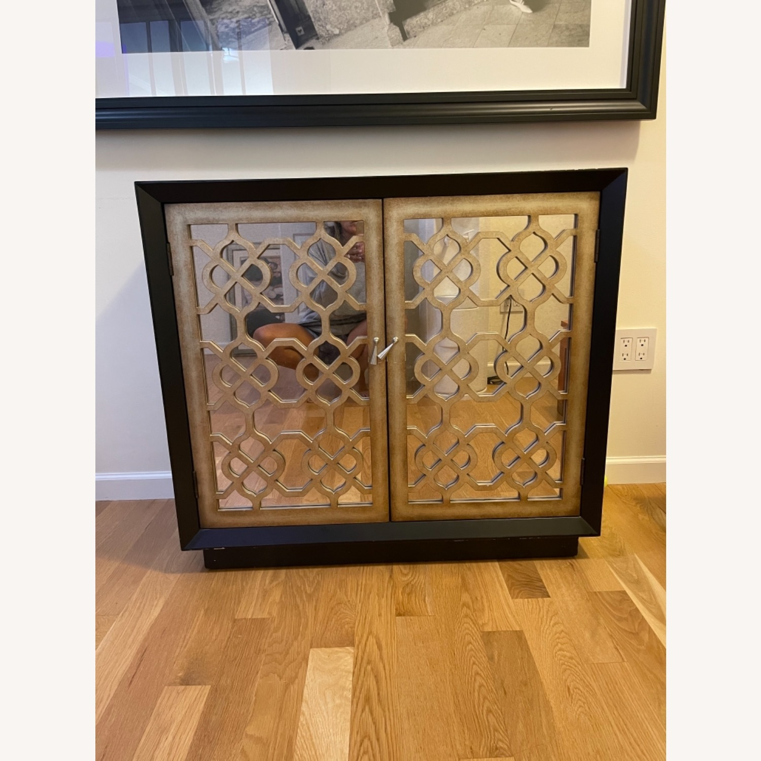 Horchow Black and Gold 2 Door Storage Console/Chest - image-1