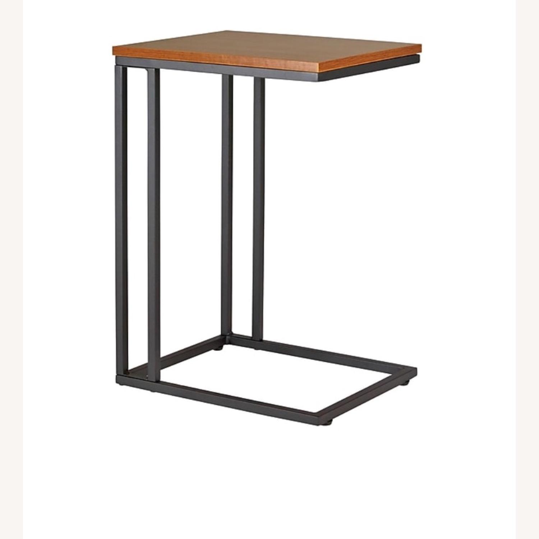 Staples Side Table Computer Desk in Espresso Brown Metal - image-3