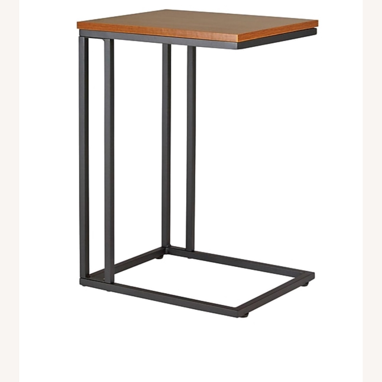 Staples Side Table Computer Desk in Espresso Brown Metal - image-1
