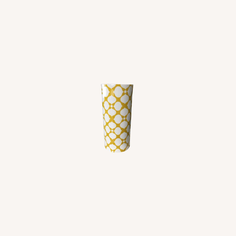 Jonathan Adler Yellow + White Ceramic Vase - image-0