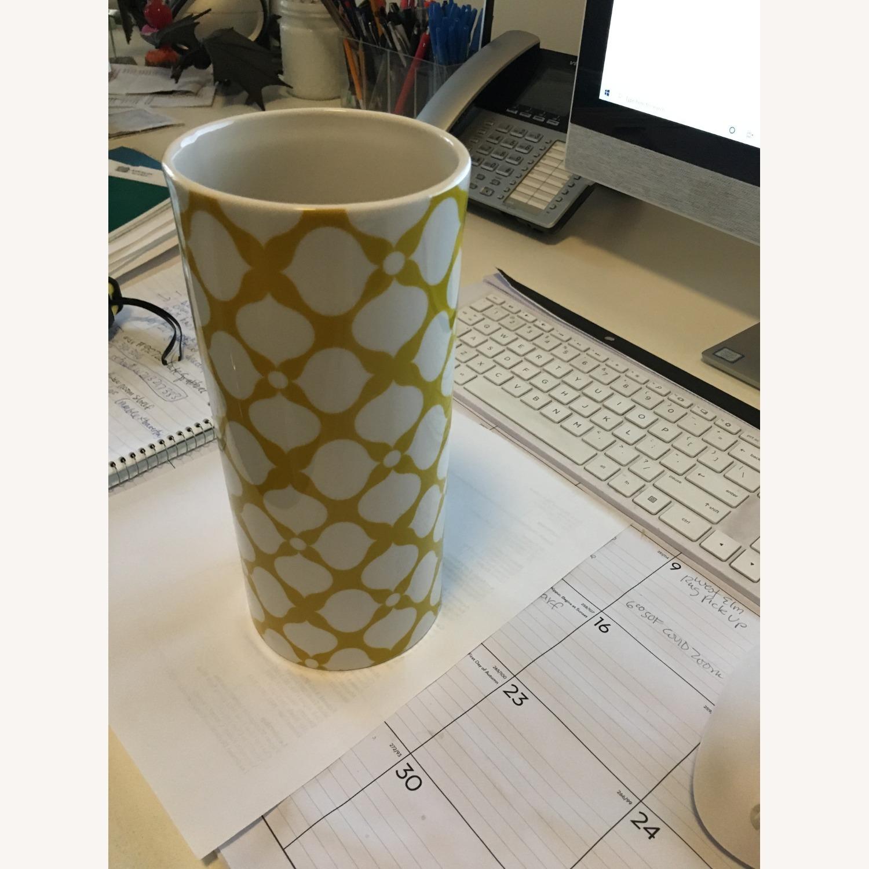 Jonathan Adler Yellow + White Ceramic Vase - image-3