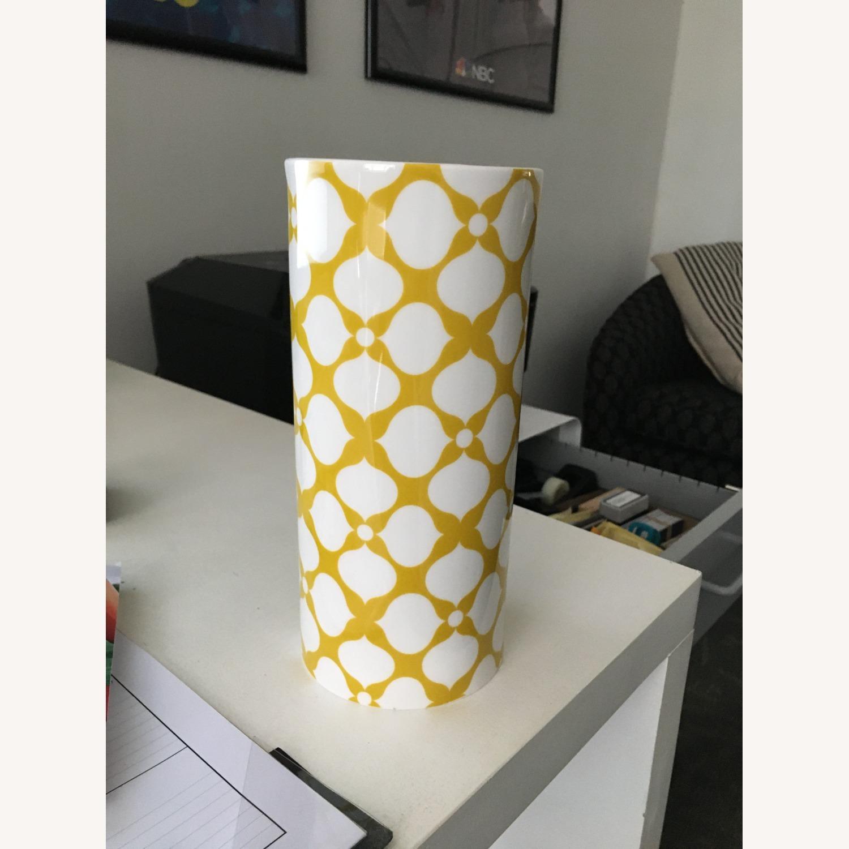 Jonathan Adler Yellow + White Ceramic Vase - image-1