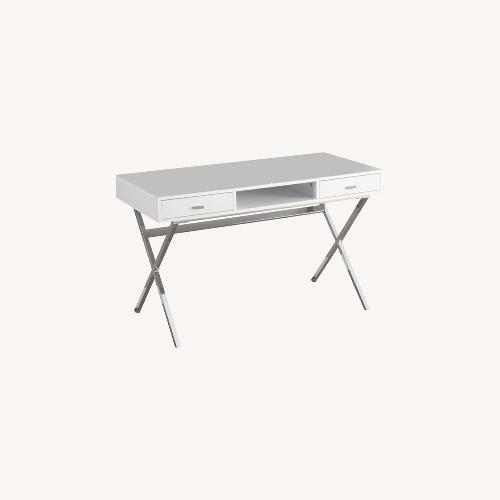 Used Monarch 48 inch Writing Desk Glossy White for sale on AptDeco