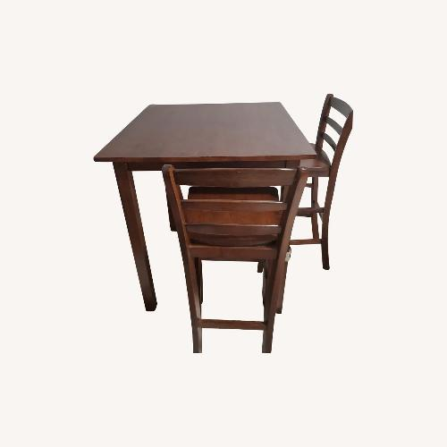 Used 3pc - High Table & Ladder Back Stools - Dining Set for sale on AptDeco