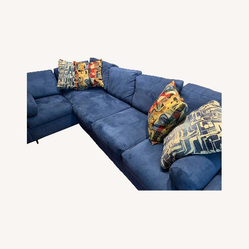 Used Della Robbia Blue Microfiber Sectional Sofa for sale on AptDeco