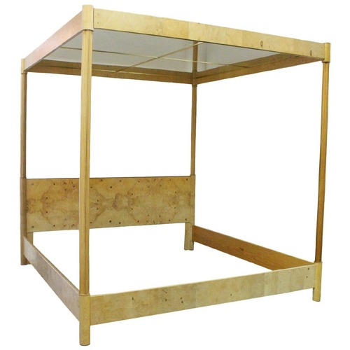 Used Henredon Burl Wood Queen Mirrored Canopy Bed for sale on AptDeco