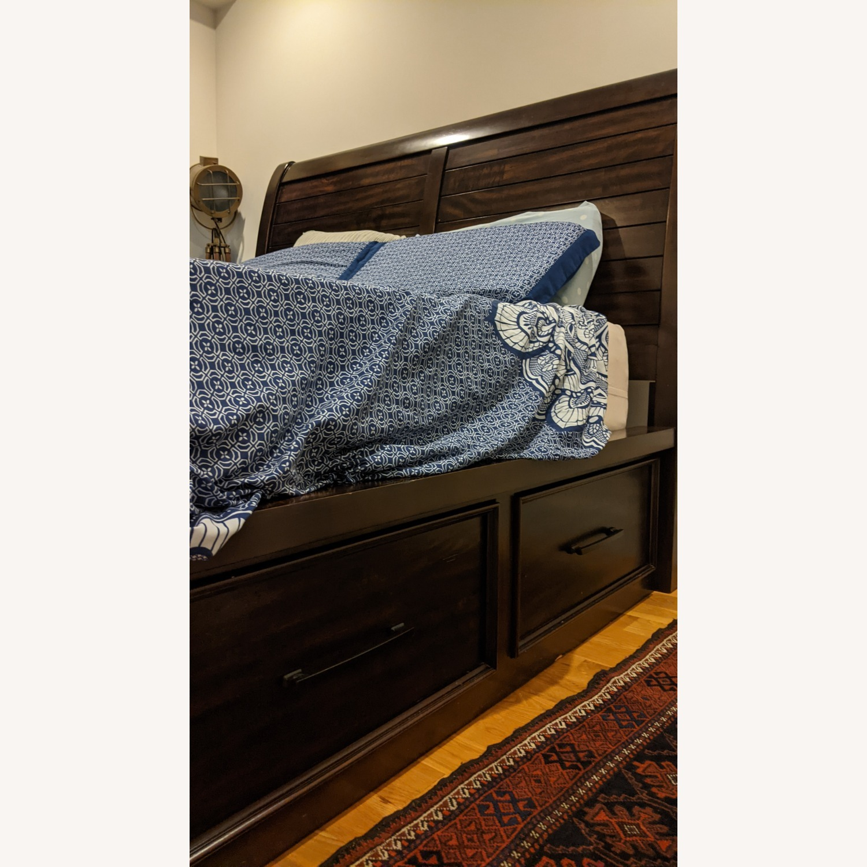 Bob's Discount Furniture Hudson Queen Pecan Storage Bed - image-3