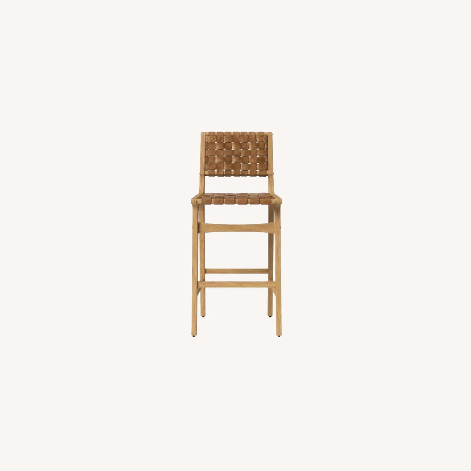 Target Woven Leather Counter Stool - image-0