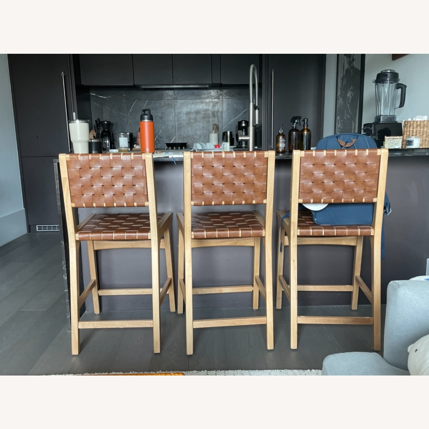 Target Woven Leather Counter Stool - image-4