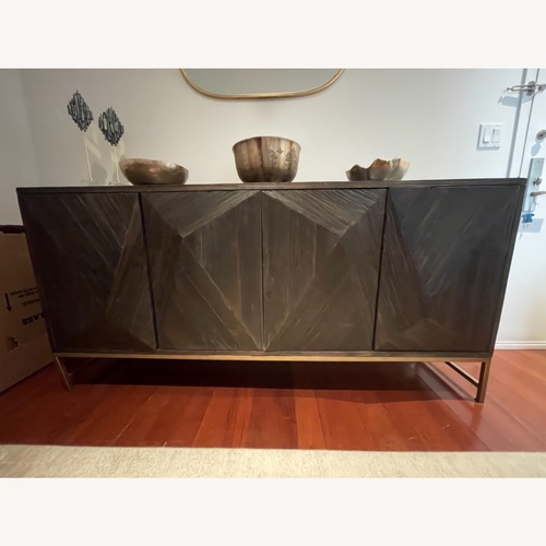 Used InspireQ Antique Gold Finish Angled Reclaimed Wood Buffet for sale on AptDeco