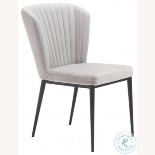 Used Zuo Modern Light Gray Velvet Dining Chairs (Set of 4) for sale on AptDeco