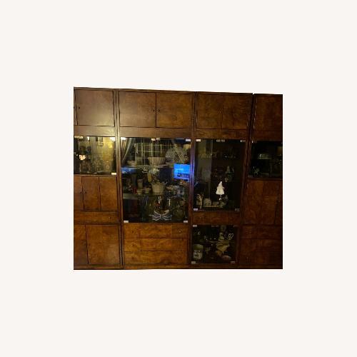 Used Bernard 4 Piece Burl Wood & Glass Wall Unit for sale on AptDeco